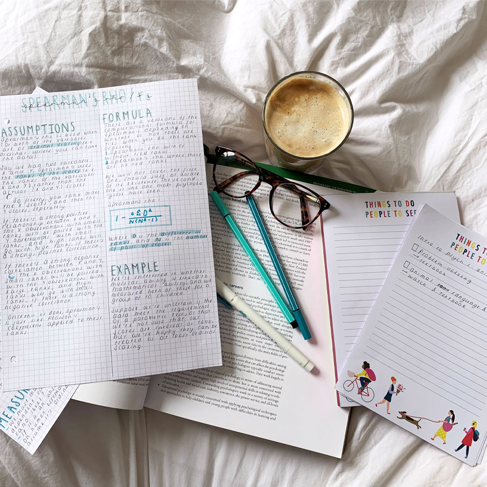 Study notes including Busy B List Pad