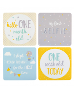 Baby milestone cards in keepsake box