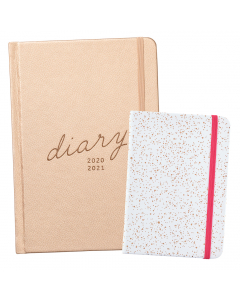 Mid Year 17 Month Diary 2020/21 / Busy Life Notebook A6 Faux White