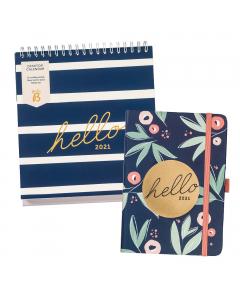A6 To Do Diary 2021 Floral / Desktop Calendar 2021