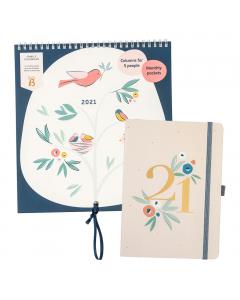 Family Calendar 2021 Birds / Busy Life Diary 2021 Floral