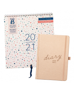 Mid Year Calendar 2020/21 / Mid Year 17 Month Diary 2020/21 Rose Gold Faux
