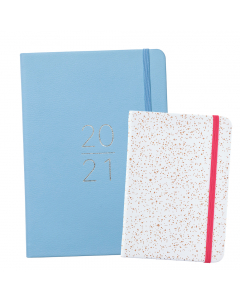 Mid Year Perfect Planner 2020/21 Blue Faux / Busy Life Notebook A6 Faux White
