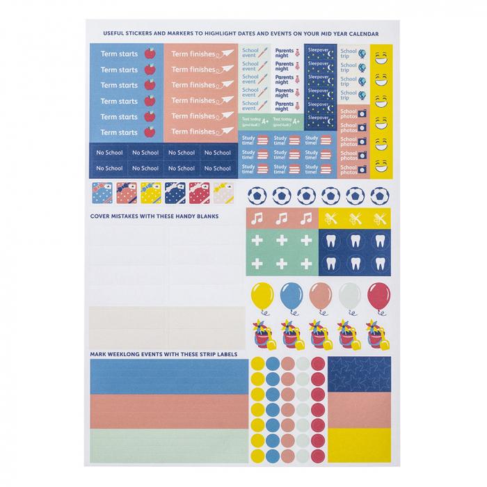 Mid Year Calendar Sticker Refill (X5)