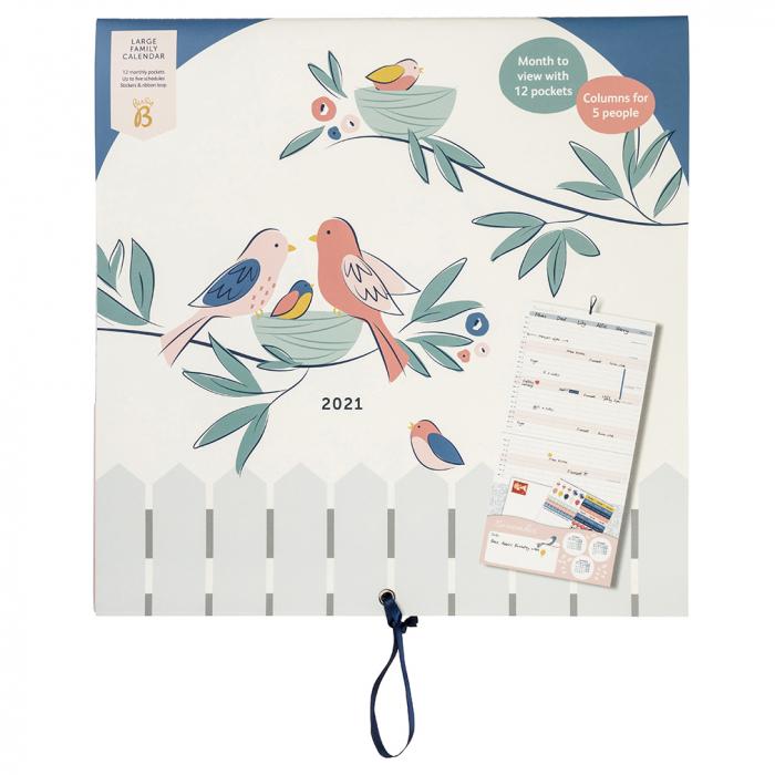 Large Family Calendar 2021 Birds