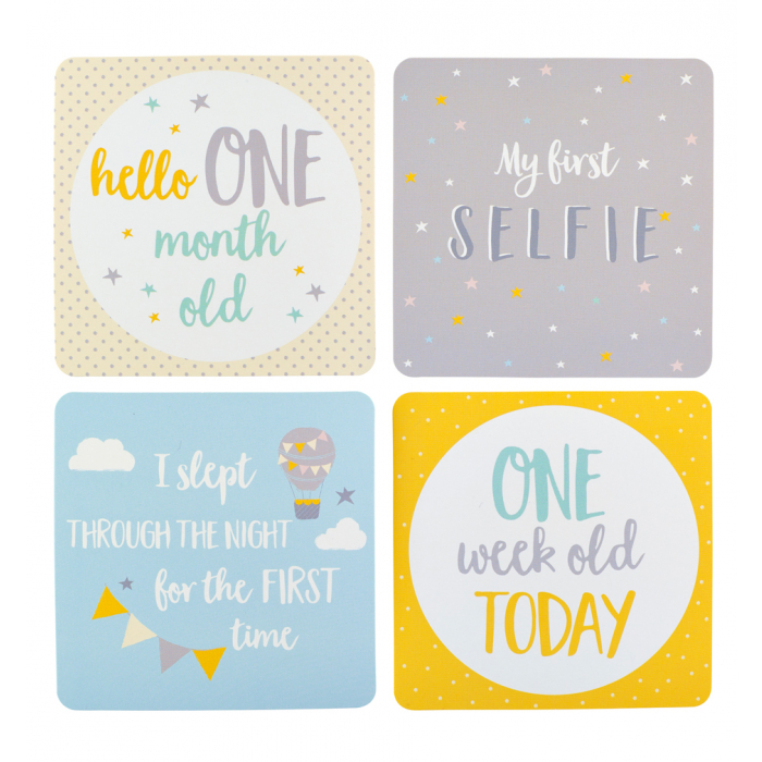 Baby milestone cards in keepsake box