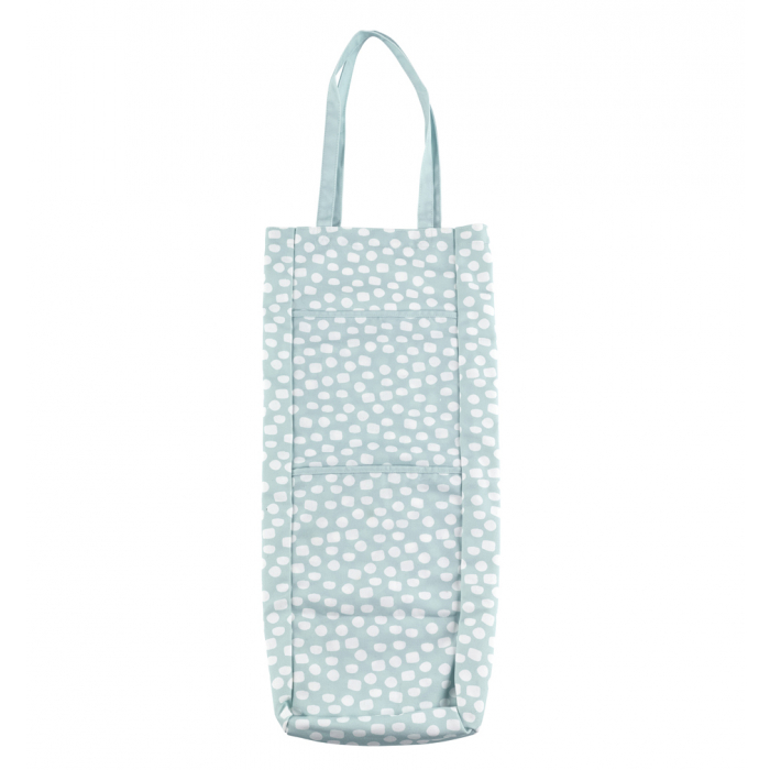 Gift wrap storage bag holds up to 10 rolls of wrapping paper and has pockets for accessories