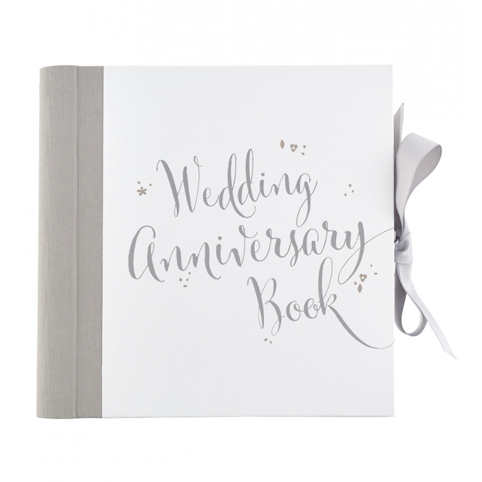 Wedding anniversary keepsake book in a box