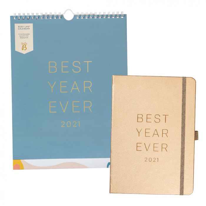 Busy Life Calendar 2021 Blue  / Goals Diary 2021 Rose Gold Faux
