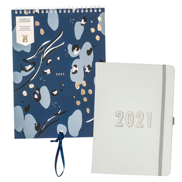 Couples Calendar 2021 Navy / Perfect Planner 2021 Grey Faux
