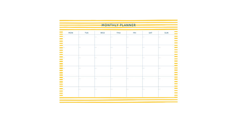 Monthly Planner - Yellow Stripe Image