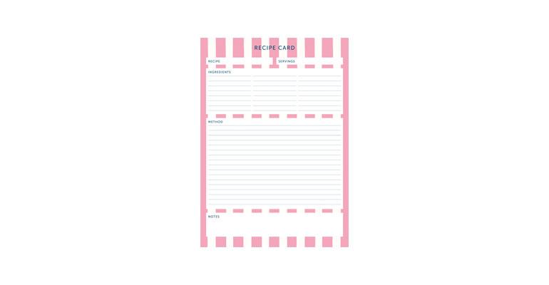 Recipe Card - Pink Stripe Image